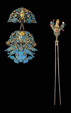 Imperial Chinese Kingfisher hair ornaments [Ornement de cheveux Parure et épingle de chignon, en argent doré, plumes........