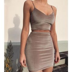 2017 New Women Camis+Skirts Two Pieces Sets Sexy Strap Velvet V-neck Solid Color Crop Tops Dress Bodycon Evening Party Vestidos Cute Dresses, Casual Dresses, Fashion Dresses, Party Dresses, Casual Outfits, Dresses Dresses, Dress Party, Cheap Dresses, Summer Outfits
