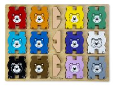Children will have a beary good time with this extra-thick wooden puzzle and stacking toy in one. The twelve cheerful bears in bright rainbow colors can balance and stack, then fit back in their color-matching spots in the puzzle board. Three included stands offer extra stability for stacking; how high can you build them?