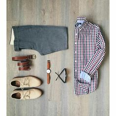 Red blue gingham button-down shirt, grey trousers, light tan dress shoes