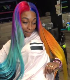 Dope Hairstyles, Weave Hairstyles, Straight Hairstyles, Cute Hair Colors, Pretty Hair Color, Curly Hair Styles, Natural Hair Styles, Hype Hair, Neon Hair