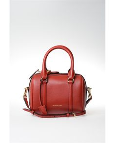 Burberry | Red Small Leather Boston Bag | Lyst