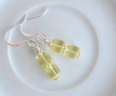 Yellow crystal dangle earrings, crystal drop earrings, cube crystal earrings, Swarovski crystal earrings, yellow crystal earrings
