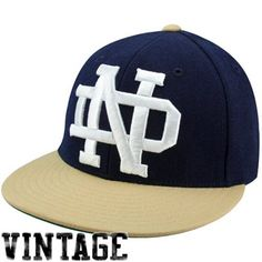 76a88045900 Mitchell   Ness Notre Dame Fighting Irish Vintage XL Logo Two-Toned Fitted  Hat - Navy Blue Gold