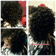 Crochet braids Freetress gogo curl cut into a bob by meghan