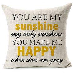 Du er min sol bomuld / linned dekorative pudebetræk - USD $ 13.99