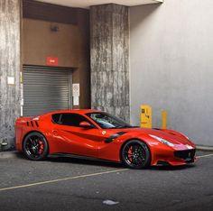 #Ferrari F12 TDF painted in Rosso Maranello Photo taken by: @Debbie Cowley on Instagram