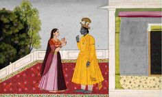 An Illustration from a Sundar Shringar series: Krishna and Radha Conversing. circa 1780, India, Kangra or Guler