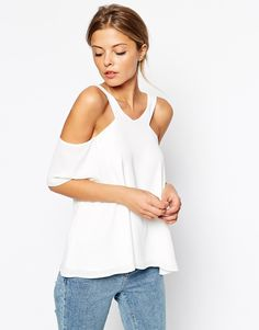 c024825c3533e1 ASOS V Front Cold Shoulder Top at asos.com