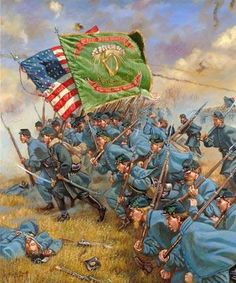 """During the American Civil War over 150,000 Irishmen, most were recent immigrants and were not yet American citizens; yet they joined the Union Army. Many hoped that such a display of patriotism would help put a stop to anti-Irish discrimination. The """"Irish Brigade"""" were known for their courage, bravery and fortitude in battle."""