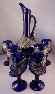 Cobalt Blue Czech Bohemian Glass Wine Decanter & Goblets Silver Turquoise Accent.