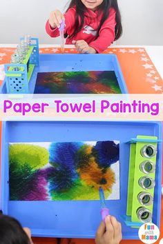 Check out this idea for an easy painting for kids. Paper towel painting is such a fun and creative way for the kids to learn creativity and confidence! Easy Painting For Kids, Diy Painting, Art For Kids, Preschool Art Activities, Painting Activities, Montessori Science, Motor Activities, Diy Craft Projects, Projects For Kids