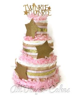 I am currently accepting orders for July 23rd Event Date and after!  This stunning diaper cake is designed in a pink and gold theme that would make the perfect centerpiece at the upcoming twinkle twinkle little star baby shower