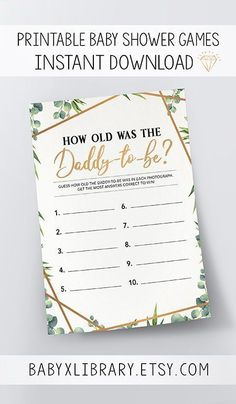 How Old Was the Daddy-to-Be, Baby Shower Game Printable, Baby Shower Instant Download, Gender Neutral Baby Shower Game, Greenery Baby Shower
