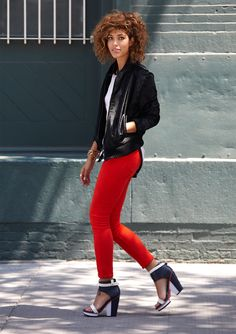 Trop Rouge - Kenneth Cole Collection Calf Hair Bomber Jacket #KCstyle