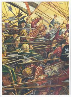 Swiss mercenaries, on right with white crosses, battling their hated enemies the German Landsknechts, almost any battle during the Renaissance Italian Wars.