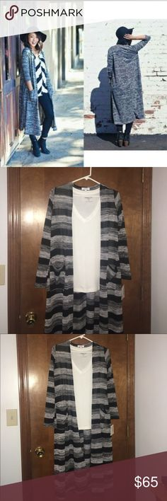 BNWT Lularoe Sarah Cardigan Brand new gray and black striped xs Sarah cardigan. First picture is just to show style. Following pictures are of the Sarah I have. **For anyone not familiar with lularoe, Sarah's are super long, comfy sweaters with pockets (that fit an iPhone perfectly 😊) at the hip. LuLaRoe Sweaters Cardigans