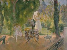 Henri LEBASQUE (1865 - 1937) Deux femmes dans un jardin en été