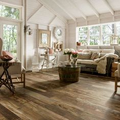 Distressed Laminate Flooring for Dog/Mudroom ~ Armstrong Woodland Reclaim/Textured Timbers - Old Original Dark/Old Character