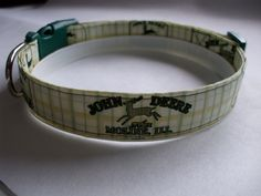 Handmade Cotton Dog Collar-Pale Yellow and Green John Deere Tractors by WalkingTheDog on Etsy