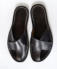 Sandals Men - Handmade in Curried Leather