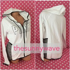 NEW VICTORIA SECRET PINK HIGH LOW STRETCH FLEECE FULL ZIP ATHLETIC HOODIE JACKET #VictoriasSecret #Hoodie