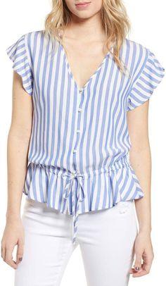 Women's Rails Ruffle Shirt, Size X-Small - Blue Casual Tops For Women, Blouses For Women, Blouse Styles, Blouse Designs, Ruffle Shirt, Shirt Blouses, Shirts, Girly Outfits, Ladies Dress Design