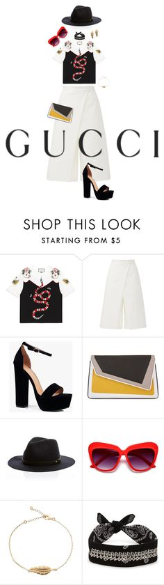 """""""Presenting the Gucci Garden Exclusive Collection: Contest Entry"""" by tabiicat07 ❤ liked on Polyvore featuring Gucci, TIBI, Boohoo, âme moi, Fallon and gucci"""