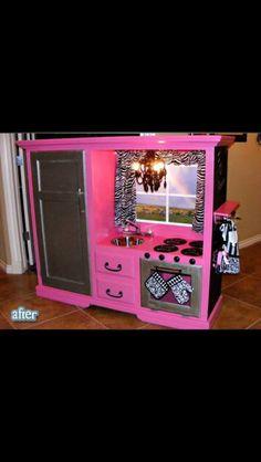 Homemade play kitchen! Adorable!