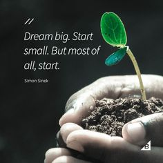 "Quote of the Day: ""Dream big. But most of all, start."" --Simon S. Financial Quotes, Leadership Quotes, Teamwork Quotes, Leader Quotes, Financial Literacy, Motivational Quotes For Working Out, Inspirational Quotes, Quotes Positive, Simon Sinek Quotes"