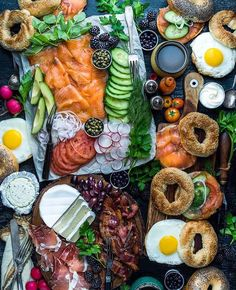 Lox, bagels, eggs, prosciutto and cheese... That's a serious spread