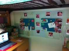 dorm room decoration...love the scrapbook paper idea