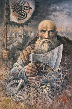 Fighting under Odin's Raven Banner, to protect the old ways, and the freedom of the people, from the threat of christianity, and tax slavery to the pope.