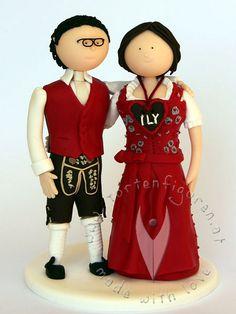 Trachten Brautpaar von www.tortenfiguren.at - Costumed Weddingcaketopper
