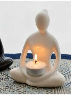 Yoga Goddess White Candle Holder
