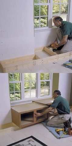 Begin by building a perimeter base toekick and assembling two over-refrigerator cabinets on top. Be sure the toekick is the same height as your existing baseboards. Window Benches, Window Seats, Style Deco, Interior Design Living Room, Kitchen Interior, Home Projects, Diy Home Decor, Family Room, Bedroom Decor