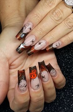 Halloween Nägel Disney Halloween Nails, Holloween Nails, Halloween Acrylic Nails, Fall Acrylic Nails, Halloween Nail Designs, Nail Art Designs, Acrylic Nail Designs Coffin, Xmas Nails, Holiday Nails