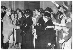 German wait to greet Hitler after midnight on April 20, 1939