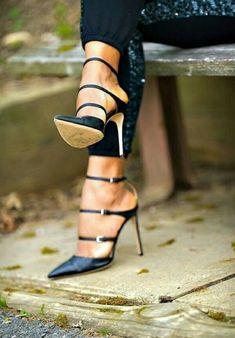 High Heels Sandals  #anklestrapheels   #black sandals