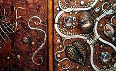 Detail Image for art Polymer clay decorated journal steampunk dragon eye