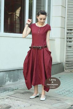 Wine red linen short sleeve dress(more colour and size choice)-B17