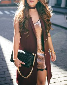 topshop vest, topshop, haute off the rack, sleeveless coat, burgundy coat, rose gold sequin dress, quilted purse, velvet choker, holiday style, holiday outfit, women's fashion, women's handbag