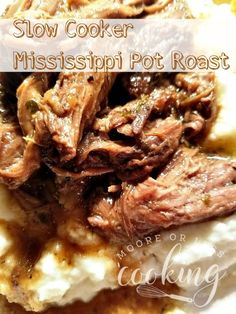 Slow Cooker Mississippi Pot Roast & Video - Moore or Less Cooking The easiest, most delicious Beef Pot Roast that you make in your slow cooker! Only 7 ingredients are needed to make this incredible roast! Slow Cooker Roast, Crock Pot Slow Cooker, Crock Pot Cooking, Slow Cooker Recipes, Crockpot Recipes, Crockpot Dishes, Meat Recipes, Cooking Recipes, Kale Recipes