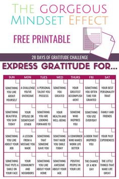 Use this free printable to challenge yourself to express gratitude everyday for 28 days!