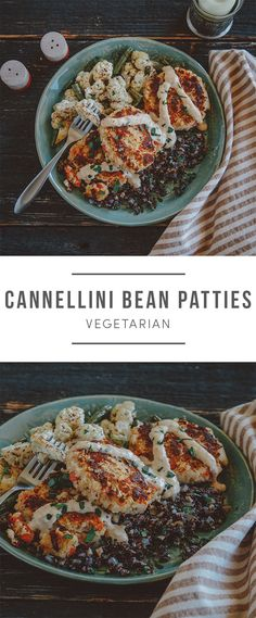 Cannellini Bean Patties. Mashed cannellini beans, red bell pepper, seasoned breadcrumbs, and a creamy ginger-date dressing are formed into patties, then seared to a crispy finish. The patties are served over black quinoa studded with red onions, ginger, and garlic. Recipe here: https://greenchef.com/recipes/white-bean-patties-with-quinoa-and-sumac-roasted-veggies?utm_source=pinterest&utm_medium=pint&utm_campaign=social&utm_content=gingermeatloaf