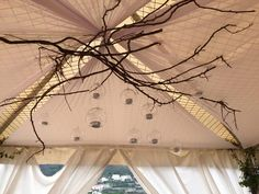 branches and glass balls, vintage theme, glass lanterns