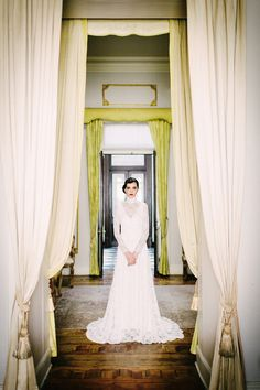 Beautiful Long Sleeve Lace Wedding Dress  Photography by Claire Morgan