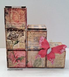 """Blocks Card by papercrafter45 using """"Romance Novel"""" paper collection & papillon embellishment from Prima"""