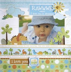 Little Yellow Bicycle- adorable baby boy Baby Boy Scrapbook, Baby Scrapbook Pages, Scrapbook Page Layouts, Scrapbook Paper Crafts, Scrapbook Cards, Scrapbook Quotes, Scrapbook Templates, Little Yellow Bicycle, Kids Pages
