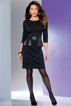 Faux-leather-Trim-Ponte-Dress